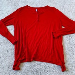 Red Henley Long Sleeve Top Size Large